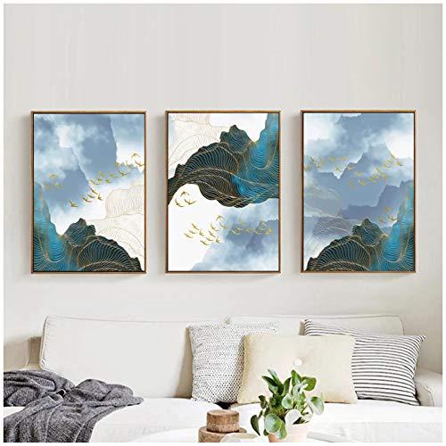 ZXYFBH Cuadros Decoracion Salon Banner Azul Dorado Chino montañas Lienzo Pintura Cartel de cabecera n Impresiones Carteles de Arte de Pared para Sala de Estar Dormitorio 19.7x27.6in (