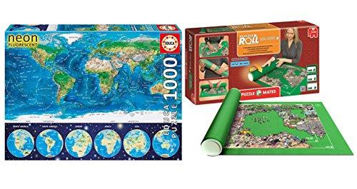 Outletdelocio. Pack Puzzle Educa 16760. Mapamundi Fisico en Neon (Brilla en la Oscuridad). 1000 Piezas + Tapete Universal Puzzle Roll 2000 Piezas. 64444/64239