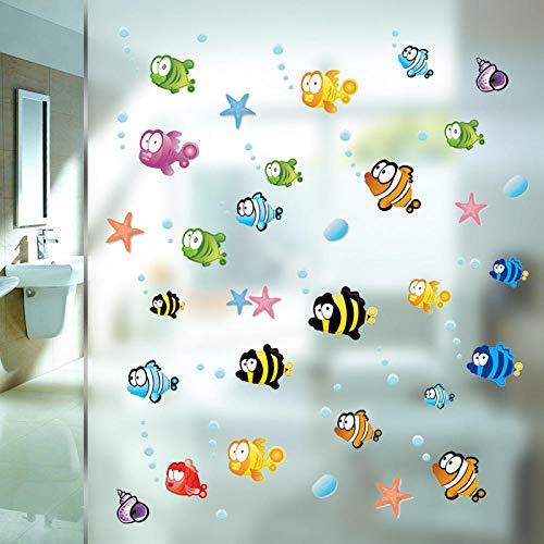 Wc Wc Cartoon Wandaufkleber Wc Bad Fliesen Glastür Wanddekoration Aufkleber Selbstklebend Wasserdicht-Flunder_50 * 70