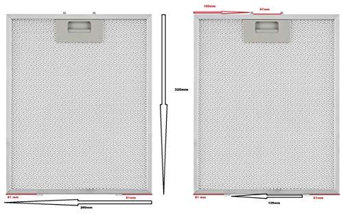 2x Metall Fett Filter 320mm x 260mm geeignet für PKM Dunstabzugshauben: 6090-2H, 6091- H, 9099-2H, 6004W, 9004W