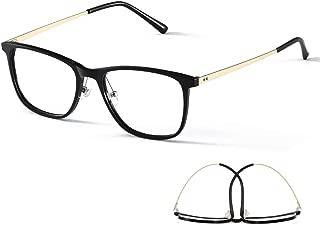 M'S Blue Light Blocking Glasses,Lightweight Titanium Sheet Frame Clear Lens Anti Glare Eyestrain Computer Game Reading Eyeglasses for Men/Women(132MM, Black Gold)