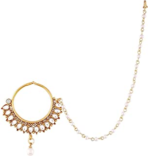 Aheli Indian Bollywood AD Nose Ring/Nath Pearl Layered Chain Women Padmavati Jewelry