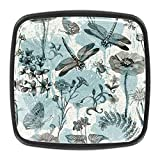 4pcs ABS resina negro cuadrado gabinete perillas para gabinetes cajón dormitorio armario baño hardware azul libélula mariposa
