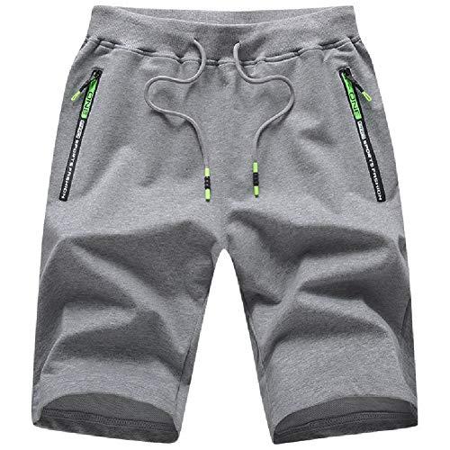 Tansozer Kurze Hosen Herren Shorts Sport Sommer Jogginghose Herren Kurz Shorts Baumwolle Gym Sweat Shorts Jogging Fitness Hose Grau M