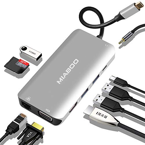 USB C Hub Multiport Adapter - 10 in 1 Portable Space Aluminum Dongle with 4K HDMI Output, 3 USB 3.0 Ports, SD/Micro SD Card Reader Compatible for MacBook Pro, XPS More Type C Devices