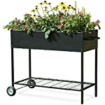 "Mixc raised garden bed, metal elevated outdoor planter box for backyard & patio,large planter for vegetable flower herb… 9 【sturdy design garden box 】compared to other products, square iron table legs are designed instead of the l-shaped table legs in the mixc raised garden bed, which can provide more sufficient support and not easy to break down. The flower box weight capacity up to 185 lbs, bottom partition can support 90 lbs. 【fits perfectly into garden】35. 8""*15. 9""*31"" overall, planting box: 8. 3"" deep, holds about 2. 1 cubic feet soil, provide ample growing space to raise vegetables, herb, flower and plant. It can place outdoor for long time use. 【garden bed everywhere 】this raised garden bed has two smooth wheels on one side and a handle on the other, making it easy to move the herb planter wherever you like. Fixed hooks on the side allow you to hang ready-to-use garden tools."