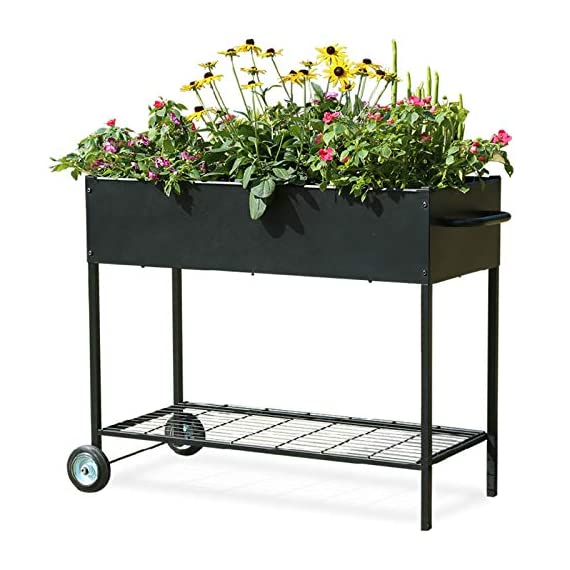 "Mixc raised garden bed, metal elevated outdoor planter box for backyard & patio,large planter for vegetable flower herb… 1 【sturdy design garden box 】compared to other products, square iron table legs are designed instead of the l-shaped table legs in the mixc raised garden bed, which can provide more sufficient support and not easy to break down. The flower box weight capacity up to 185 lbs, bottom partition can support 90 lbs. 【fits perfectly into garden】35. 8""*15. 9""*31"" overall, planting box: 8. 3"" deep, holds about 2. 1 cubic feet soil, provide ample growing space to raise vegetables, herb, flower and plant. It can place outdoor for long time use. 【garden bed everywhere 】this raised garden bed has two smooth wheels on one side and a handle on the other, making it easy to move the herb planter wherever you like. Fixed hooks on the side allow you to hang ready-to-use garden tools."