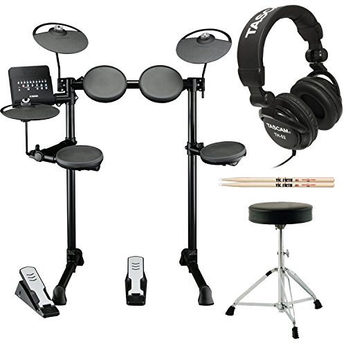 Yamaha DTX400K Customizable Electronic Drum Set with Drum Throne, Vic Firth 5A...