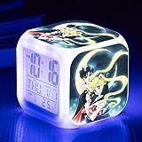 fdgdfgd Sailor Moon Reloj Despertador 3D Cumpleaños del bebé con termómetro Fecha Sensor táctil Reloj Despertador Digital LED
