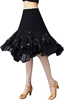[RIKOUZY]社交ダンス スカート ひざ丈 お花飾り 二層フリル裾 広がる エレガント モダンダンス 女性 レディース パソドプレ ラテン タンゴ 練習用 演奏会 舞台衣装 コーラス フラメンコ