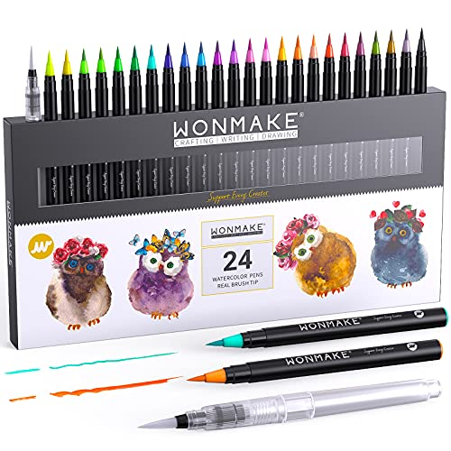 WONMAKE Watercolor Brush Pens for Kids and adults, Real Brush Pen, 24 Watercolor Painting Markers with Flexible Nylon Brush Tips for Coloring, Calligraphy and Drawing (1 Water Brush Pens for Blending)