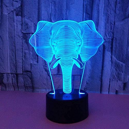 3D Animal Elephant Head Night Light 16 Color cambiante Control remoto Dormitorio Decoración USB Lámpara de mesa Ilusiones ópticas Lámpara LED de noche para niños Navidad Cumpleaños Mejor regal
