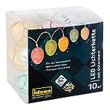 Idena Lichterkette mit 10 LED warmweiß und Eiern in Pastellfarben, batteriebetrieben, mit 6 Stunden Timer Funktion, für Ostern, Frühling, Deko, als Stimmungslicht, ca. 1,65 m, weiß, Keine