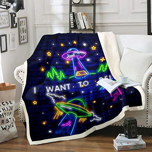 Tecknad utomjording tryckt fleece filt yttre rymden tema plysch filt för säng soffa övernaturliga kampanj varelser sherpa filt abstrakt unik luddig filt rum dekor kung 221 cm x 238 cm