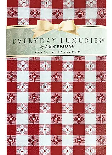 Newbridge Bistro Tavern Check Vinyl Flannel Backed Tablecloth - Cafe Checkered Indoor/Outdoor Vinyl Picnic, BBQ and Dining Tablecloth - 52