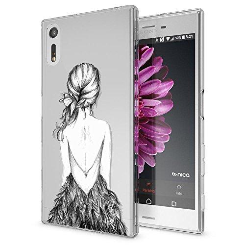 NALIA Coque Protection Compatible avec Sony Xperia XZ, Motif Housse Silicone Premium Case Smart-Phone Back-Cover Ultra-Fine Souple Gel Slim Anti-Choc Bumper Mince Etui, Designs:Bird Princess