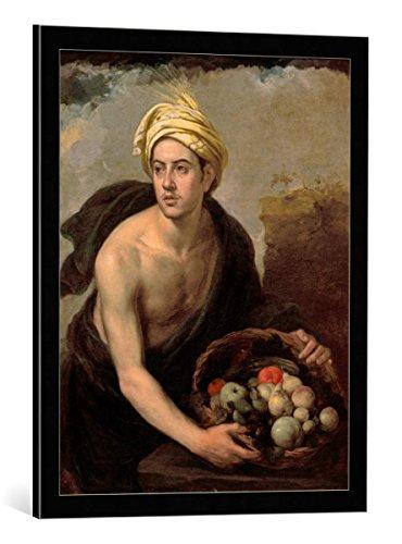 Kunst für Alle Cuadro con Marco: Bartholomé Estéban Murillo Summer depicted as a Young Man with Basket of Fruit - Impresión artística Decorativa con Marco, 55x70 cm, Negro/Canto Gris