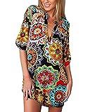 ZANZEA Femme Chemisier Longue à Col V Manche Courte Lâche Tunique Imprimé Floral Casual Mousseline en Soie Shirt Grande Taillle Blouse Chemise 02-Florale imprimé-Style 1 EU 44