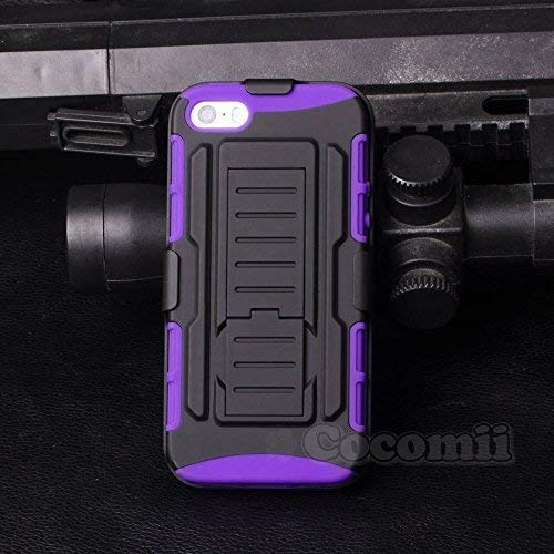 Cocomii Robot Belt Clip Holster iPhone SE/5S/5C/5 Custodia, Sottile Opaco Kickstand Fondina Clip per Cintura Girevole Case Bumper Cover Paraurti Compatible with Apple iPhone SE/5S/5C/5 (Purple)