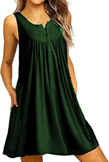 Women's O Neck Casual Pockets Sleeveless Above Knee Dress Loose Party Dress