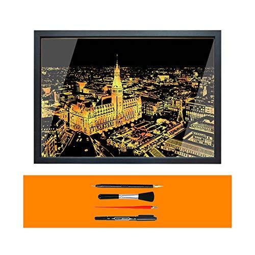 Rainbow Painting Night View Scratchboard, Scratch Engraving Art Set, met 4 gereedschappen en fotolijst, Hamburg Duitsland