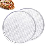 AGOOBO Pizza Screen,12 inch Seamless-Rim Aluminum Nonstick Pizza Screen,Pack of 2