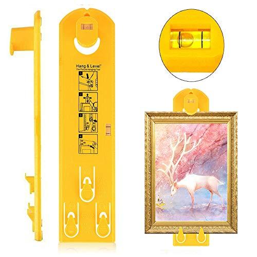 Starlife - Herramienta para colgar cuadros con niveles, fácil de hacer posición, kit de colgadores de pared para marco, agrupaciones, galerías, relojes y espejos (amarillo)