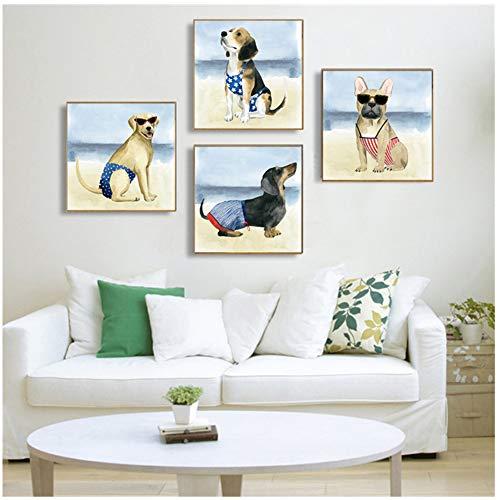 Leuke Bikini Hond Poster Prints Grappige Dier Muur Canvas Schilderij Zee Strand Kinderkamer Decor Muur Foto Woonkamer-50x50 cm x 4 stks Geen Frame