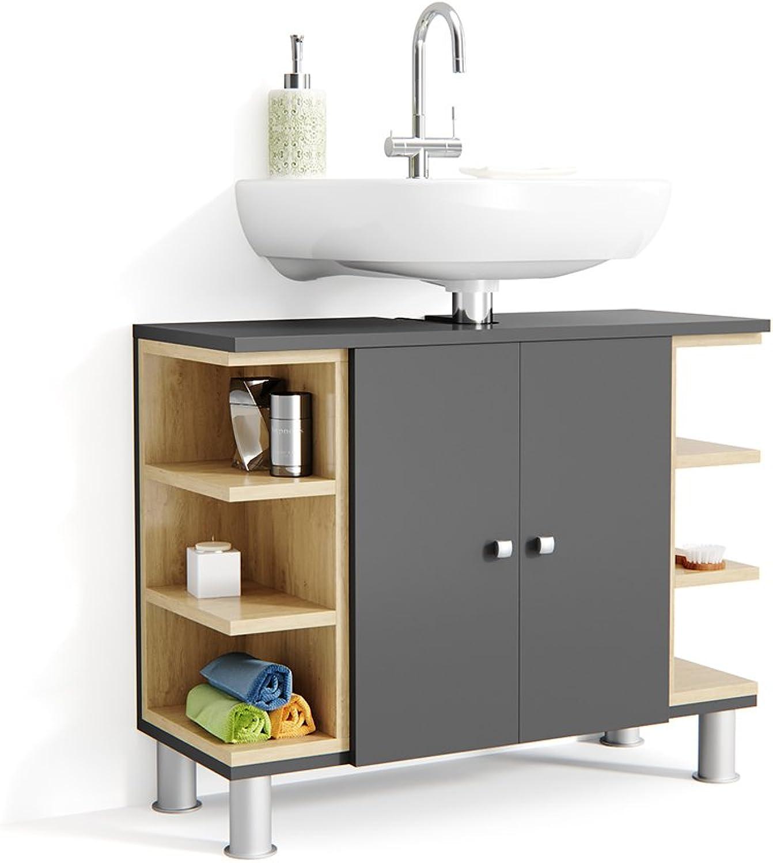 Vicco AQUIS Waschtischunterschrank Anthrazit Eiche Badschrank Badezimmerschrank Waschbeckenunterschrank Unterstellschrank