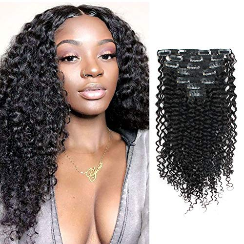 Lovrio 9A Grade Jerry Curl Clip in Hair Extension...
