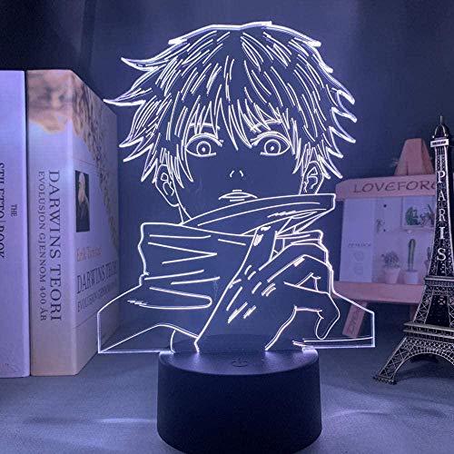 3D LED noche luz ilusión escritorio lámpara decoración habitación anime satoru gojo Jujutsu Kaisen Yuji Itadori Anniversary-DM974_16 colores con control remoto