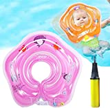 Baby Swimming Pool Float Neck Ring, Inflatable Swim Float Waist Ring,Pool Bathtub Toys with Inflatorfor Kids Toddlers 3-36 Months (Pink)