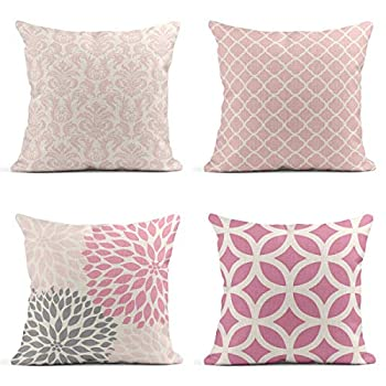 Tarolo Decorative Linen Throw Pillow Covers Cases Set of 4 Light Pink Floral Flower Home Pretty Blush White Quatrefoil Pale and Gray Dahlias Pastel and Circle Pillow Cover Case 16x16 inches