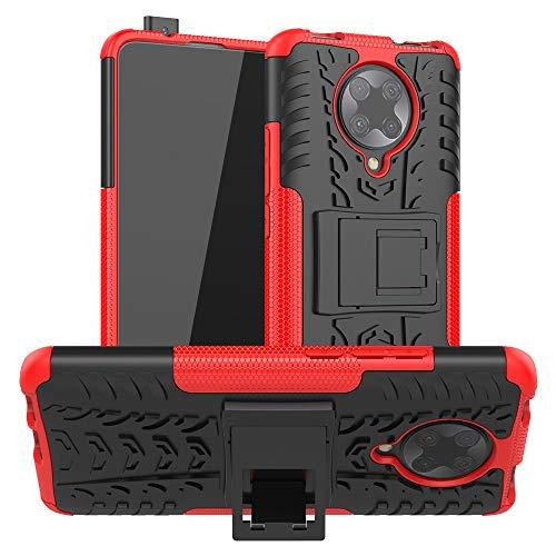 FanTing Cover per Xiaomi Poco F2 PRO, [Protezione Robusta] [Armatura Sottile] Hybrid Dual Layer Armor Soft TPU Bumper PC Rigida Protettiva Case -Rosso
