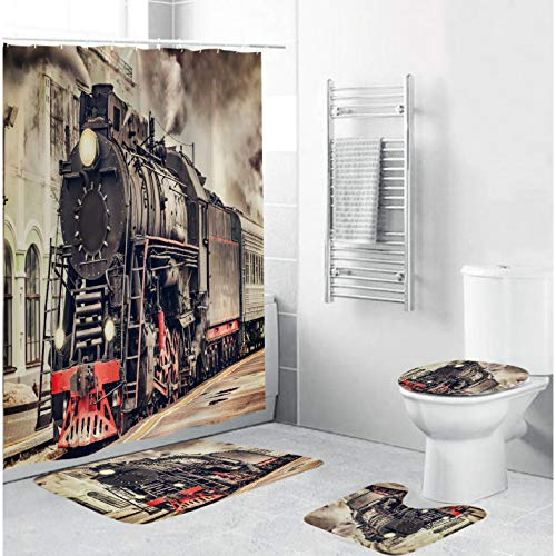 ZLWSSA Gray Retro Train Printing Fabric Waterproof Bathroom Shower Curtains Anti-Skid Rugs Toilet Lid Cover Bath Mat Decor W150xH180cm