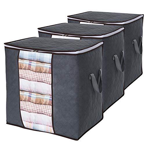 Lifewit 3 Packs Sac de Rangement pour Vêtements de Grande Capacité avec Poignée Renforcée Tissu Amélioré pour Couettes, avec Fermeture Éclair Solide, Fenêtre Transparente, Gris
