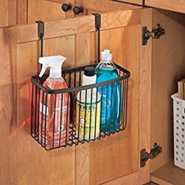 mDesign Over-the-Cabinet Hanging Kitchen Storage Basket for Aluminum Foil, Sandwich Bags or Cleaning Supplies – Bronze