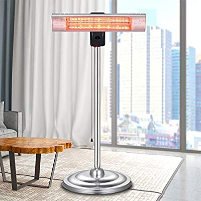 RMYHOME Infrared Patio Heater, Standing Electric Heater for Outdoor or Indoor, Rapid Heating, Adjustable Stainless Steel Tube, Remote Control, Energy Saving and Safety Protection