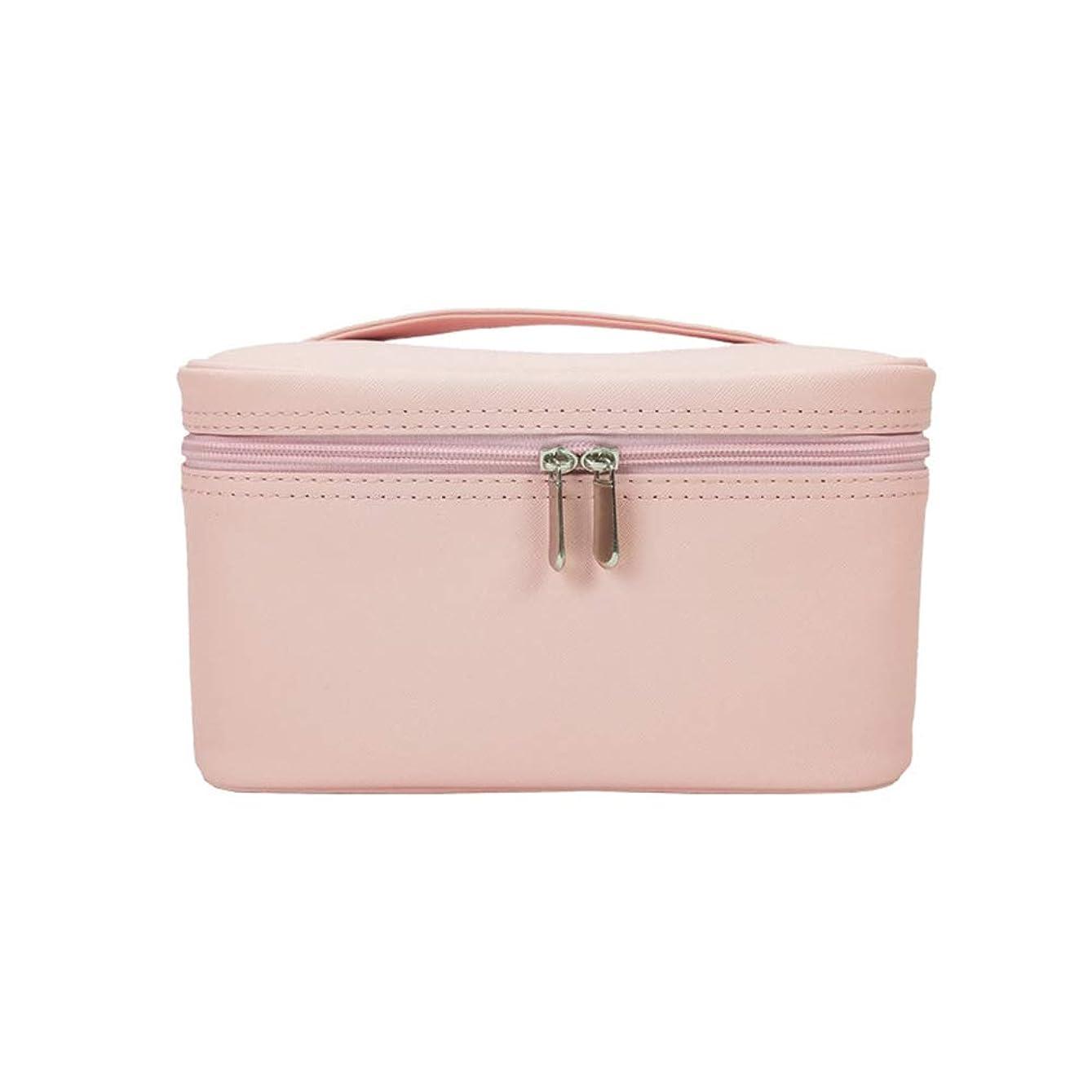 通知ツール翻訳特大スペース収納ビューティーボックス 女の子の女性旅行のための新しく、実用的な携帯用化粧箱およびロックおよび皿が付いている毎日の貯蔵 化粧品化粧台 (色 : ピンク)