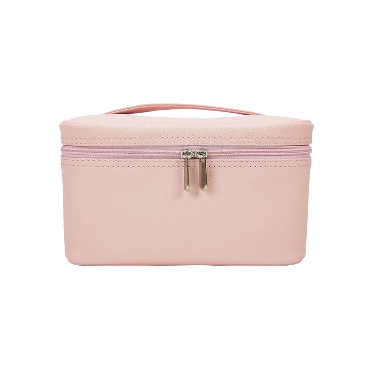恩赦所有権姉妹特大スペース収納ビューティーボックス 女の子の女性旅行のための新しく、実用的な携帯用化粧箱およびロックおよび皿が付いている毎日の貯蔵 化粧品化粧台 (色 : ピンク)