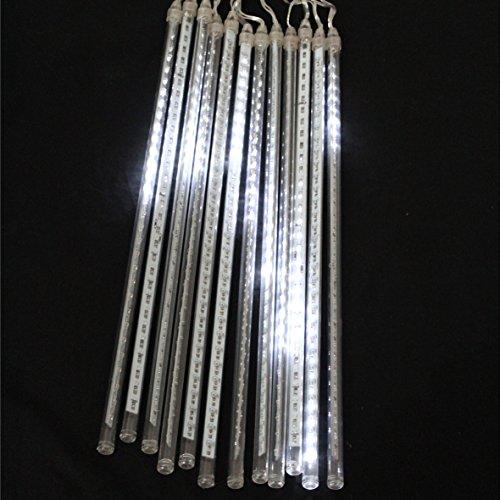 BigDean Lichterregen Meteor Lichter 240LED 12 Stangen 31cm Gesamtlänge 6,6m + 10m Zuleit. Kaltweiss innen & außen