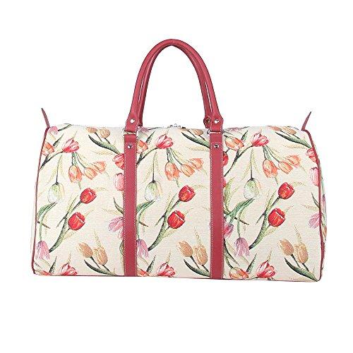 Signare laptoptas voor dames, laptoptas met behangpatroon, rood/roze
