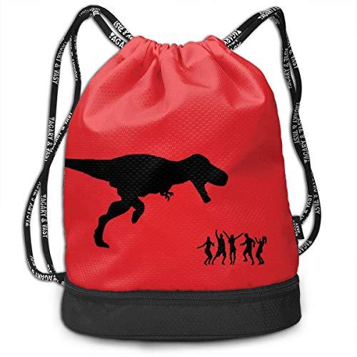 Hdadwy Mochila empaquetada Impresa en 3D, Divertidos Dinosaurios creativos comen Gente Mochila roja con cordón/Bolsa de Viaje