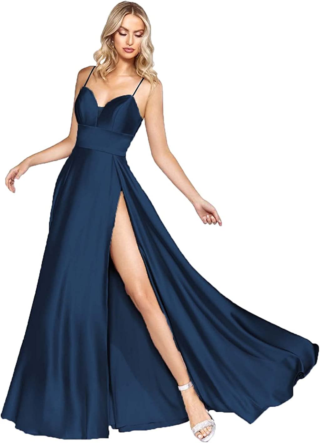 LINGLINGDING Women's Spaghetti Straps V Neck Long Bridesmaid Dresses with Slit Pleated Satin Formal Evening Gown