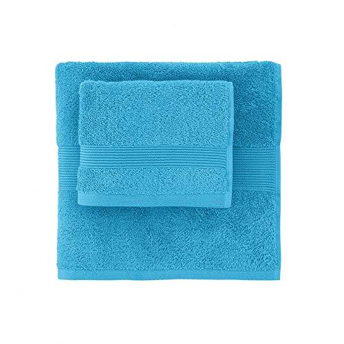 ZUCCHI SOLOTUO Set Spugna Coppia 2 Pezzi 1+1 OSPITE 40 x 60 + Asciugamano 60 x 110 Asciugamani 100% Spugna di Puro Cotone 560 GR/mq Capsule Collection (Ciano col. 3352)