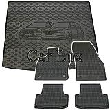 Car Lux DUO01081 - Kit Conjunto Alfombra Protector Maletero y Alfombrillas de Goma a Medida para Seat Ateca 4x4 Desde 2016-