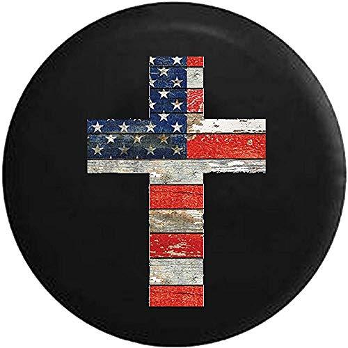 Herfst Ing Houten Vintage Rustiek Kruis Amerikaanse Vlag Rood Wit Blauw Jezus Kruis Religieuze Reserveband Cover Suv Camper Rv Accessoires