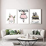 QJIAHQ Póster de Libro Vogue Fashion Girl Pink Gin Arte de la Pared Pintura en Lienzo Carteles nórdicos e Impresiones Imagen de Pared para decoración de Sala de estar-40x50cmx3Pcs (Sin Marco)