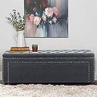 BLACK OAK Sissel Upholstered Storage Bench Sofa Settee Storage Ottoman with Storage Grey Velvet