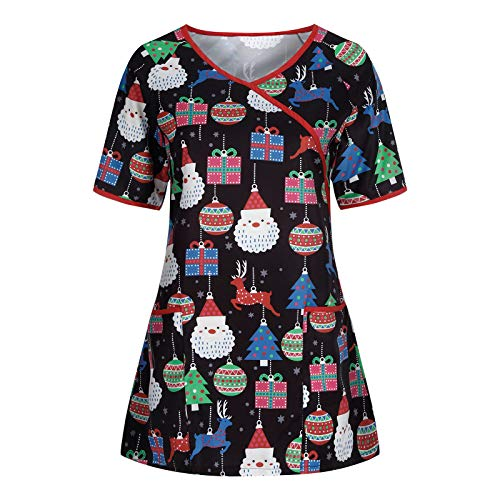 DONGXIEHYS Printed Holiday Thanksgiving & Christmas Tops Working Uniform Blouse Novelty Workwear